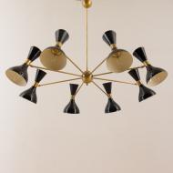 2018--Włoski żyrandol w stylu Stilnovo z 8 kloszami w kształcie klepsydry-8 arms Italian chandelier with diabolo shades in Stilnovo style--17