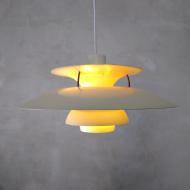 2039 Lampa PH5 biała z patyną i nową oprawką, Dania, lata 60. 4