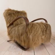 2044 Pair of Halabala 269 lounge chairs in long hair sheepskin (Chewbacca)-12