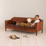 2045 Danish vintage brown leather 3 seater sofa in Borge Mogensen style-2
