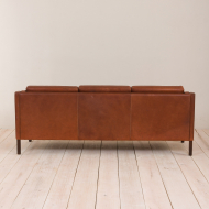 2045 Danish vintage brown leather 3 seater sofa in Borge Mogensen style-7