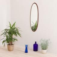 2069 Italian mid-century oval mirror in solid mahogany-1
