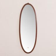 2069 Italian mid-century oval mirror in solid mahogany-3