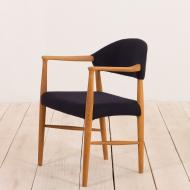 2072 Erik Kierkegaard oak chair in dark blue wool-2