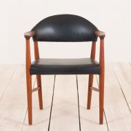 2073 Erik Kierkegaard teak  chair in black leather-3