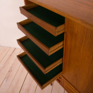 2082 Teak highboard with 5 drawers in Johannes Andersen style, Denmark, 50s-2-11