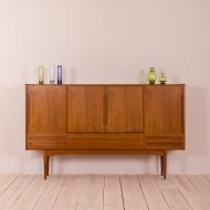 2082 Teak highboard with 5 drawers in Johannes Andersen style, Denmark, 50s-2