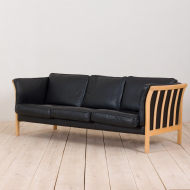 21001-Vintage black leather Stouby 3 seater sofa-1