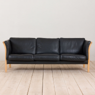 21001-Vintage black leather Stouby 3 seater sofa-2