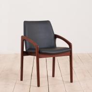 21003-Vintage Kai Kristiansen teak side chair in black leather, Denmark, 1960s-1