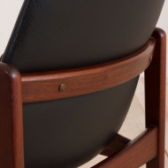 21003-Vintage Kai Kristiansen teak side chair in black leather, Denmark, 1960s-6