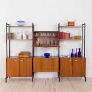 21016--Italian free standing wall unit 3 bay shelving in Luciano Frigerio style-Włoski wolnostojący regał biblioteczka, meblościanka w stylu Luciano Frigerio z mosiężnymi detalami, lata 60.--24