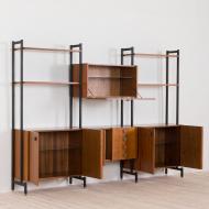 21016--Italian free standing wall unit 3 bay shelving in Luciano Frigerio style-Włoski wolnostojący regał biblioteczka, meblościanka w stylu Luciano Frigerio z mosiężnymi detalami, lata 60.--5