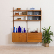 21019-Cadovius 2 bay teak royal wall unit with 3 cabinets and 3 shelves