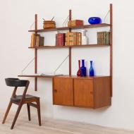 21021-Preben Sorensen teak wall unit with a desk and sliding doors cabinet upcycled 4 nowe półki (ostatnie) i nowe półkibiurko,  i szafeczka z przesuwnymi drewnianymi-3