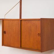 21021-Preben Sorensen teak wall unit with a desk and sliding doors cabinet upcycled 4 nowe półki (ostatnie) i nowe półkibiurko,  i szafeczka z przesuwnymi drewnianymi-8