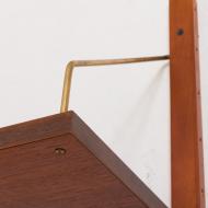 21022--Preben Sorensen teak wall unit with a desk and triple shelving system Denmark 1960s-Duński system półek ściennych mini meblościanka z biurkiem i 3 półeczkami, Preben Sorensen, lata 60-11
