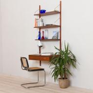 21022--Preben Sorensen teak wall unit with a desk and triple shelving system Denmark 1960s-Duński system półek ściennych mini meblościanka z biurkiem i 3 półeczkami, Preben Sorensen, lata 60-2