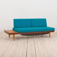 21025--Teak Daybed Svanette with Side Table by Ingmar Relling for Swane Ekornes, 1960s-Svanette Daybed vintage łóżko sofa proj. I Relling H. Vik, oryginalna tapicerka, Swane Ekornes Norway, lata 60-3