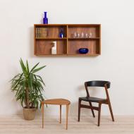 21033-Vintage wall shelf, shelving cabinet in teak, bookshelf, Denmark, 60s-1