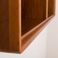 21033-Vintage wall shelf, shelving cabinet in teak, bookshelf, Denmark, 60s-5