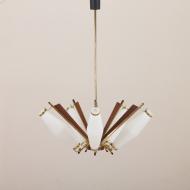 21038-Mid century pendant chandelier in Art Deco Stilux Stilnovo style, Denmark, 1950s-13