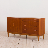 21055-Danish teak small sideboard with folding doors and 4 drawers 1970s-1