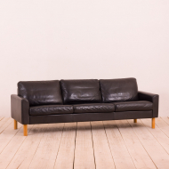 21085 Scandinavian mid century black buffalo  leather vintage sofa on oak legs-1
