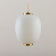 21096 Orrefors Gubi style glass pendant with brass details-2