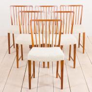 2112 komplet 6 orzechowych krzeseł Fritz Henningsen-9