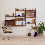 21130 Royal Cadovius teak wall unit with a secretary and glass cabinet and 6 shelves-1