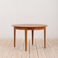 21133 vintage Danish teak round extension table grom 1960s-6