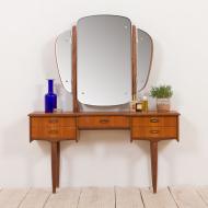 21147 Scandinavian mid century teak vanity with brass handles and adjustable mirror-1