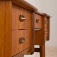 21147 Scandinavian mid century teak vanity with brass handles and adjustable mirror-18