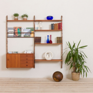 21152 Ergo Wall Unit in teak with 6 shelves and a cabinet by John Texmon for Blindheim Møbelfabrikk, 2 bay modular shelving system, 1960s-1