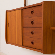 21152 Ergo Wall Unit in teak with 6 shelves and a cabinet by John Texmon for Blindheim Møbelfabrikk, 2 bay modular shelving system, 1960s-15