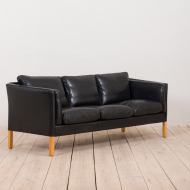 21168 Vintage Danish Stouby sofa in thick black aniline leather-5