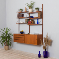 21184 Royal Cadovius 2 bay teak wall unit with 2 cabinets and 4 shelves, 60s-2