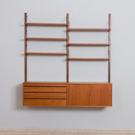 21184 Royal Cadovius 2 bay teak wall unit with 2 cabinets and 4 shelves, 60s-4
