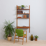 21185 Poul Cadovius teak wall unit with a desk and 3 shelves, Denmark, 1960s-1