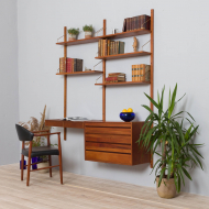 21185 Royal Cadovius 2 bay wall unit with a desk and a chest of drawers, 60s-2