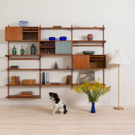 2121 Kai Kristiansen FM Wall Unit in teak with 2 cabinets, vitrine and 8 shelves-1