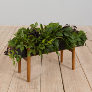 21233 Danish rosewood planter with black metal container, 1960s-1