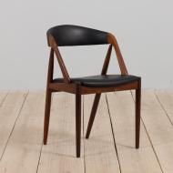 21236 Kai Kristiansen rosewood desk chair 31 in reupholstered in soft black leather, Denmark, 60s-1