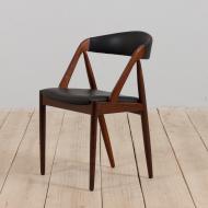 21236 Kai Kristiansen rosewood desk chair 31 in reupholstered in soft black leather, Denmark, 60s-3