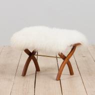 21238 Danish solid teak stool in long hair white sheepskin, 1960s-2