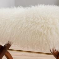 21238 Danish solid teak stool in long hair white sheepskin, 1960s-6