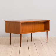 21251 Danish free standing teak desk with curved top and 6 drawers, 1960s-7