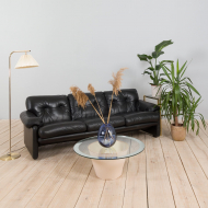 21254 Tobia Scarpa black leather 3 seater sofa Coronado by B_B Italia, 1970s-1