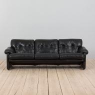 21254 Tobia Scarpa black leather 3 seater sofa Coronado by B_B Italia, 1970s-3